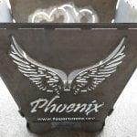 Feuertonne Motiv Wort Phoenix mit Flügeln